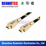 Cable coaxial plateado oro de la soldadura de HDMI