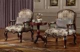 標準的な椅子のテラスClasscial表が付いているファブリックそして木から成っている一定の旧式なアーム椅子