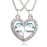 2PCS de beste Gift van de Juwelen van de Halsbanden van de Tegenhanger van het Hart Bff van Vrienden voor altijd