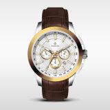 Les hommes 5ATM de montre de chronographe imperméabilisent les sports Watch72231 de montre-bracelet de quartz de cuir véritable