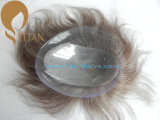 100% Remy humano Hairpiece con base de piel delgada