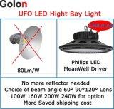 130lm/W는 보장 5 년 옥외 240W 200W 160W 100W IP65 Dimmable 산업 높은 만 LED 150W를 방수 처리한다