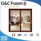 Schuifdeur van het Aluminium van het Glas van de Verkoper van Guangdong Woodwin de Hete Dubbel Aangemaakte (fx-17004)