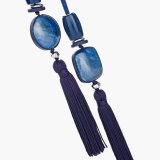 女性のための青く長い文のネックレスの宝石類のHand-Woven革ネックレス及びペンダントのふさ