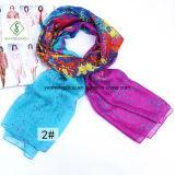 De nieuwe Bloemen Afgedrukte Sjaal van het Ontwerp Dame Fashion Silk Scarf