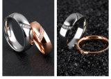 Juwelen van het Roestvrij staal van de Ringen van het Paar van de Vrouwen van de Mannen van de Diamant van het Bergkristal van het Hart van de Minnaar van de manier de Gespleten