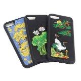 Caixa floral do telefone de pilha da arte do bordado do OEM para todo o Smartphone