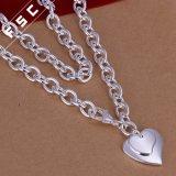 Оптовым ожерелье формы сердца высокого качества покрынное серебром Unisex привесное