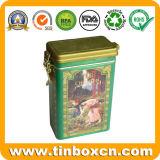De centro rectangular caja de la lata con tapa hermética, Metal poder de café