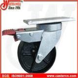 Echador del cubo de basura del eslabón giratorio de 6 pulgadas con la rueda del cubo de la basura