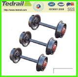 Insieme di rotella dei carrelli ferroviari del veicolo su rotaie