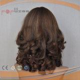 Смешанный парик человеческих волос Glond Brown курчавый