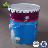 페인트 화학제품을%s 꽃 뚜껑 손잡이를 가진 10L에 의하여 인쇄되는 금속 물통
