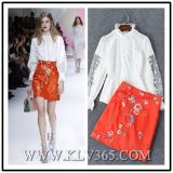 2016 Sprung Summer New Style Office Ladys Embroider Skirt und Lace Blouse Set