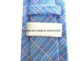 Alta qualidade Big Pink Check Silk Woven Necktie para Business Man