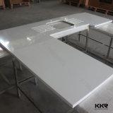 明白な白OEMの人工的な水晶台所石のベンチの上(C170505)
