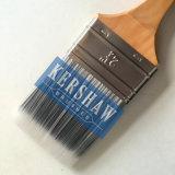 Cepillo plano afilado del filamento del cepillo de pintura (brocha, negro y blanco con la manija de madera dura)