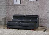 Sofa de cuir véritable de couleur de noir de forme d'U (301)