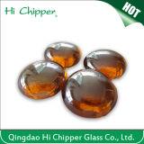 Piqûre en verre ambre foncée d'incendie de pierre gemme