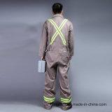 Vêtements 100% de travail de sûreté de chemise d'avant de fermeture éclair de coton longs (BLY1003)