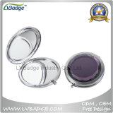 カスタムロゴの金属の倍の側面の折る装飾的な携帯用コンパクトなミラー