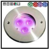3X3w luz subacuática inoxidable de la piscina del acero IP68 LED