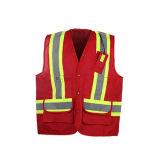 Veste elevada da segurança da visibilidade da venda quente com bolso traseiro