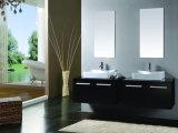 Vanità della stanza da bagno dell'oggetto d'antiquariato della ciotola del doppio dell'impiallacciatura della quercia da 72 pollici con la parte superiore di marmo (B-8580)