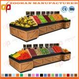 Moderne hölzerne Supermarkt-Gemüse-und Frucht-Bildschirmanzeige-Zahnstangen-Regale Zhv9