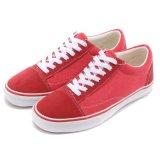 LightweightヴァンStyle Lowのの足首の安価で赤いズック靴