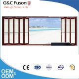 Constructeur insonorisé de portes de pliage de fer d'entrée principale de portes de modèle en aluminium de gril