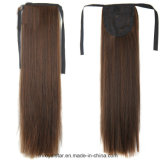 Prolongation synthétique droite de cheveux de queue de cheval de vente chaude de bonne qualité