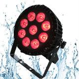 9X18W Rgbawuv 6in1 делают освещение водостотьким диско IP65