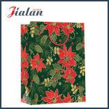 128GSM brillante Arte laminado flores de papel de regalo de Navidad bolsa de papel