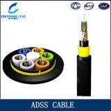 Cable de fibra óptica de arriba de la alta calidad ADSS con la alta base extensible de la fuerza 2/4/8/12/24/48/96/128 para el OEM tropical del clima de la tormenta
