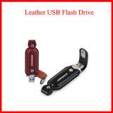 Insignia grabada soporte de cuero del mecanismo impulsor del flash del USB USB3.0
