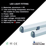 Aluminio LED Wall LED Fluorescent Lamp 36W 4 Feet Warrenty para 3 Years