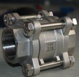 3PC шариковый клапан резьбы нержавеющей стали Ss304 200wog с плавая шариком