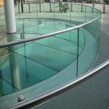 Vidrio endurecido plano o curvado para los pasamanos de cristal /Fences de Frameless