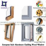 Hemlock/quercia/finestra di alluminio di legno di inclinazione & girata del teck, finestra di alluminio placcata di legno altamente elogiata della stoffa per tendine