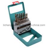 dígito binario de taladro de torcedura de 19PCS HSS fijado con el rectángulo de aluminio