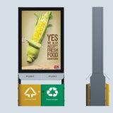 Poder de basura al aire libre solar de los media de publicidad del LED que enrolla el rectángulo ligero