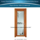 Puerta interior del marco de aluminio de madera del grano