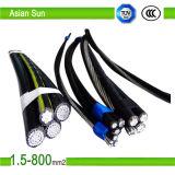 Изолированный XLPE/PVC/PE кабель ABC алюминиевого проводника надземный