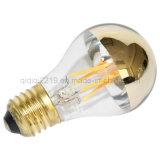 A60 6W LED Filament Bulb met Half Gold Mirror