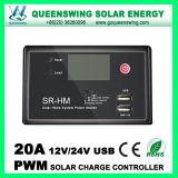 10A / 20A 12V / 24V LCD PWM Solar Controlador de Carga de Bateria com USB
