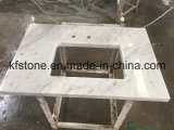 Камень кварца искусственного твердого поверхностного инженерства белый для Countertop