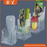 Espace libre de papier en gros de crémaillère d'étalage de l'acrylique A6 2 couches de support de brochure