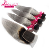高品質のOmbreカラーRemyの毛はペルーのまっすぐな人間の毛髪を編む