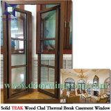 Guichet en bois de teck avec le revêtement en aluminium, modèle en aluminium en bois de Windows de tissu pour rideaux de teck de Chambre de villa de l'Amérique
